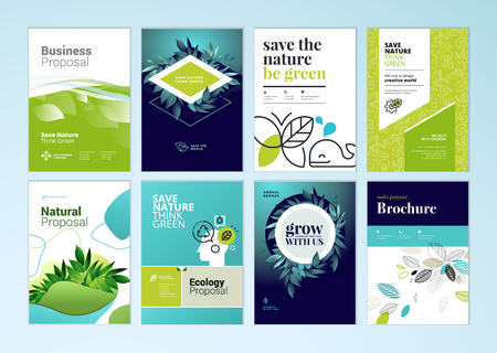 Set of brochure and annual report cover design templates on the subject of nature, environment and organic products. Vector illustrations for flyer layout, marketing material, magazines, presentations Illustration