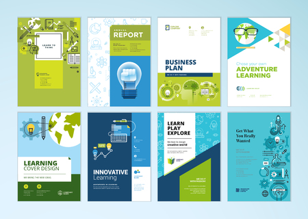 Set of brochure design templates on the subject of education, school, online learning. Vector illustrations for flyer layout, marketing material, annual report cover, presentation template. Standard-Bild - 102664227