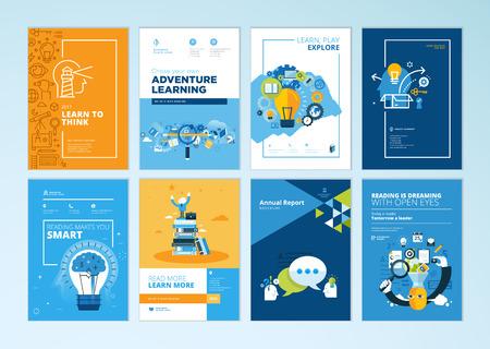 Set brochure ontwerpsjablonen op het gebied van onderwijs, school, online leren. Vectorillustraties voor flyer-indeling, marketingmateriaal, jaarverslagomslag, presentatiesjabloon. Vector Illustratie