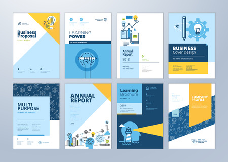 Set of brochure design templates on the subject of education, school, online learning. Vector illustrations for flyer layout, marketing material, annual report cover, presentation template. Stok Fotoğraf - 102673101