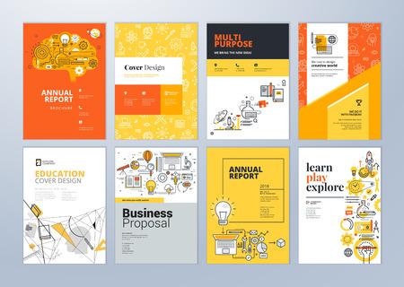 Set di modelli di progettazione brochure in materia di istruzione, scuola, apprendimento online. Illustrazioni vettoriali per layout volantino, materiale di marketing, copertina del rapporto annuale, modello di presentazione.