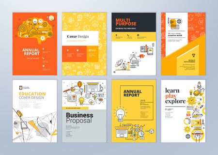 Set brochure ontwerpsjablonen op het gebied van onderwijs, school, online leren. Vectorillustraties voor flyer-indeling, marketingmateriaal, jaarverslagomslag, presentatiesjabloon.