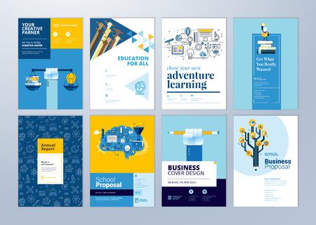 Set brochure ontwerpsjablonen op het gebied van onderwijs, school, online leren. Vectorillustraties voor flyer-indeling, marketingmateriaal, jaarverslagomslag, presentatiesjabloon.