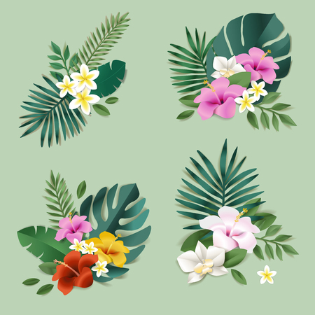 Set of of nature and flower elements. Vector illustrations for natural products, cosmetics, beauty and spa, label and packaging design, web design, marketing material.