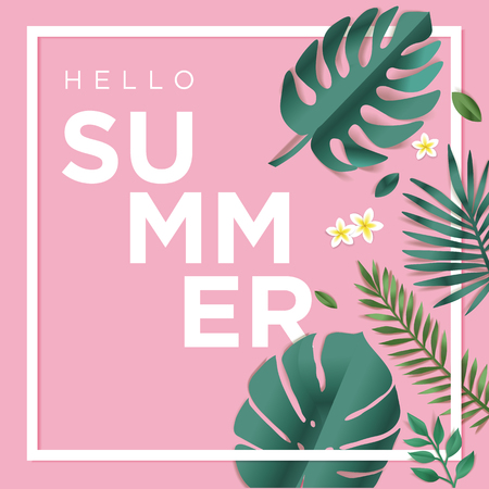 Hello summer vector illustration for background, mobile and social media banner, summertime card, party invitation template. Lettering summer concept with natural elements.