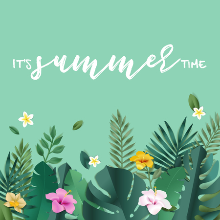 Summer vector illustration concept for background, web and social media banner, summertime card, party invitation template. Lettering summer concept with natural elements. Illustration