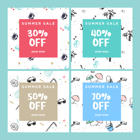 Summer sale website banners collection. Trendy vector illustration concept for online shopping, internet marketing and print material.