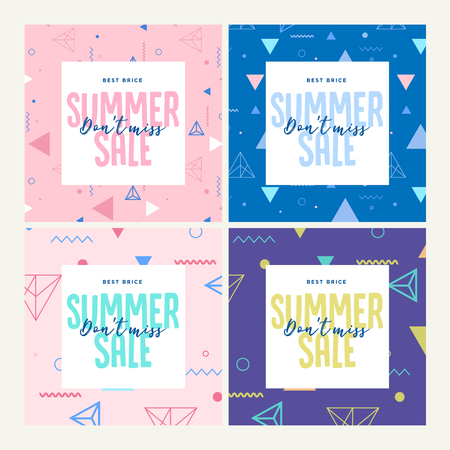 Set of mobile banners. Summer sale. Vector illustration concept for social media banners, marketing material, online advertising.