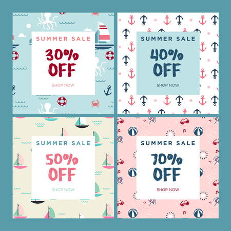 Summer sale. Set of website sale banner templates. Vector illustrations for social media banners, email and newsletter designs, ads, promotional material.