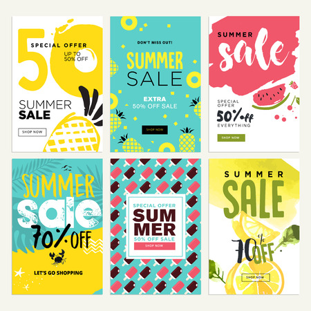 Set of mobile summer sale banners. Vector illustrations of online shopping ads, posters, newsletter designs, coupons, social media banners and marketing material. Illustration