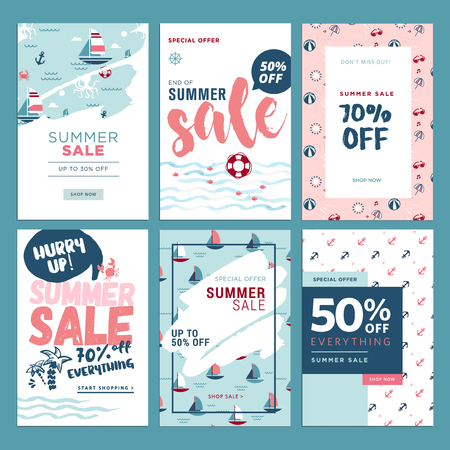Set of mobile summer sale banners. Vector illustrations of online shopping ads, posters, newsletter designs, coupons, social media banners and marketing material. Ilustração