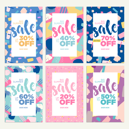 Summer sale banners. Vector illustrations of online shopping ads, posters, newsletter designs, coupons, mobile and social media banner templates, marketing material.