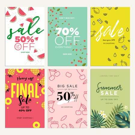 Eye catching summer sale mobile banners, ads and posters collection. Vector illustrations concept for shopping, e-commerce, internet advertising, social media ads and banners, marketing material. 写真素材 - 103283045
