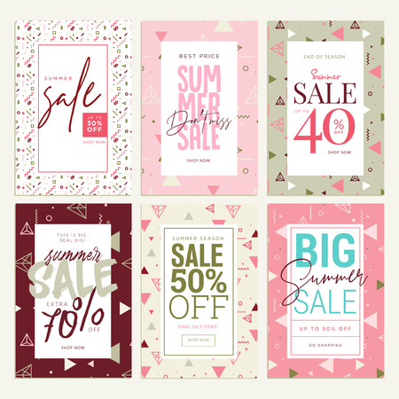 Set of mobile ads and posters. Summer sale banners. Vector illustrations concept for online shopping, e-commerce, internet advertising, social media ads and banners, marketing material. Illustration