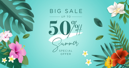 Summer sale. Vector illustration concept for mobile and web banner, poster, online shopping ads, social media and networking, marketing material. Illustration