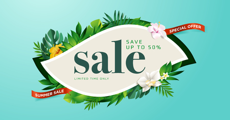 Summer sale. Vector illustration concept for mobile and web banner, poster, online shopping ads, social media and networking, marketing material. Çizim