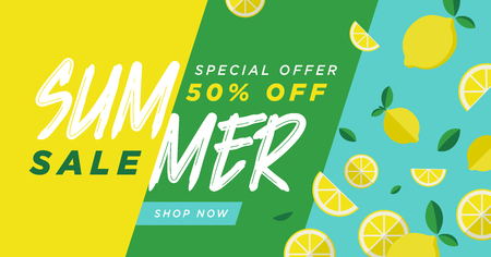 Summer sale vector illustration for mobile and social media banner, poster, shopping ads, marketing material. Lettering concept with summer elements for food and drink