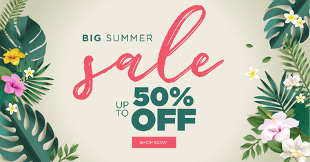 Summer sale vector illustration for mobile and social media banner, poster, shopping ads, marketing material. Lettering concept with summer elements for product promotion, beauty and cosmetics, natural products, fashion