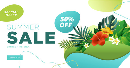 Summer sale banner design template. Vector illustration concept for internet marketing, poster, shopping ads, social media, web and graphic design. Imagens - 103283329