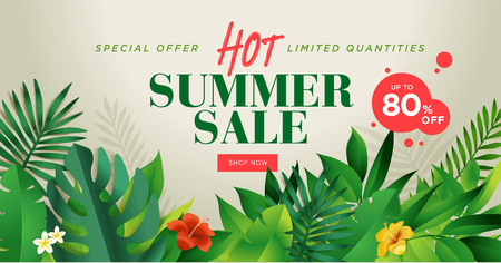 Summer sale banner design template. Vector illustration concept for internet marketing, poster, shopping ads, social media, web and graphic design. Illustration