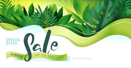 Summer sale banner design template. Vector illustration concept for internet marketing, poster, shopping ads, social media, web and graphic design.  イラスト・ベクター素材