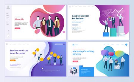 Set di modelli di progettazione di pagine web per affari, finanza e marketing. Concetti di illustrazione vettoriale moderni per lo sviluppo di siti Web e siti Web mobili. Facile da modificare e personalizzare.