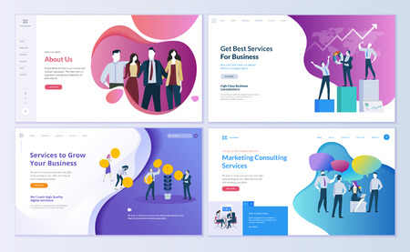 Set of web page design templates for business, finance and marketing. Modern vector illustration concepts for website and mobile website development. Easy to edit and customize. Stok Fotoğraf - 103314685
