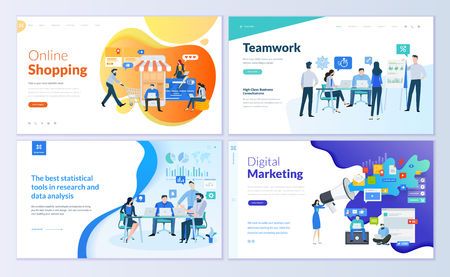 Ensemble de modèles de conception de pages Web pour les achats en ligne, le marketing numérique, le travail d'équipe, la stratégie commerciale et l'analyse. Concepts d'illustration vectorielle moderne pour le développement de sites Web et de sites Web mobiles. Vecteurs