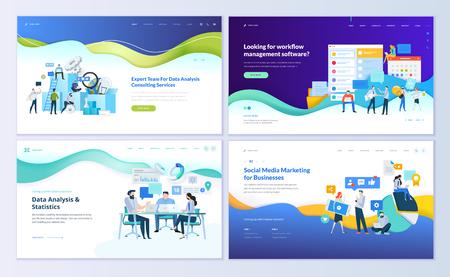 Set di modelli di progettazione di pagine web per analisi dati, app di gestione, consulenza, social media marketing. Concetti di illustrazione vettoriale moderni per lo sviluppo di siti Web e siti Web mobili.