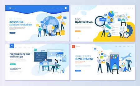 Set of web page design templates for SEO, mobile apps, business solutions. Modern vector illustration concepts for website and mobile website development. Иллюстрация