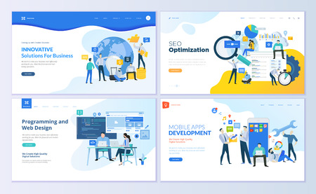 Set of web page design templates for SEO, mobile apps, business solutions. Modern vector illustration concepts for website and mobile website development. Illustration