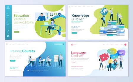 Zestaw szablonów do projektowania stron internetowych dla edukacji na odległość, doradztwa, szkoleń, kursów językowych. Nowoczesne koncepcje ilustracji wektorowych do tworzenia witryn internetowych i mobilnych.