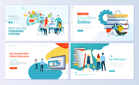 Set of web page design templates for e-learning, online education, e-book. Modern vector illustration concepts for website and mobile website development. 免版税图像 - 104758678