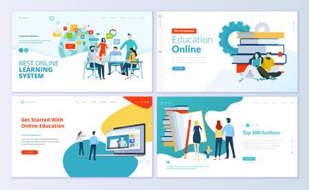 Zestaw szablonów projektu strony internetowej do e-learningu, edukacji online, e-booków. Nowoczesne koncepcje ilustracji wektorowych do tworzenia witryn internetowych i mobilnych.