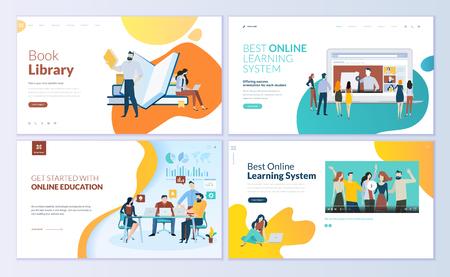 Satz von Webseiten-Designvorlagen für Buchbibliothek, Online-Lernen, Bildung. Moderne Vektorillustrationskonzepte für die Entwicklung von Websites und mobilen Websites. Vektorgrafik