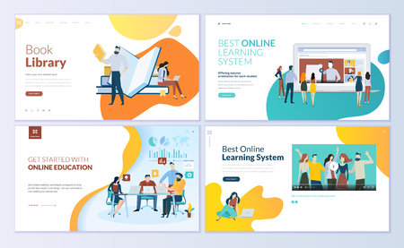 Set of web page design templates for book library, online learning, education. Modern vector illustration concepts for website and mobile website development.  イラスト・ベクター素材