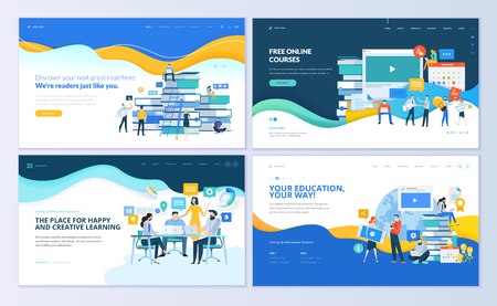 Set of web page design templates for distance education, online courses, e-learning, tutorials. Modern vector illustration concepts for website and mobile website development. Illustration