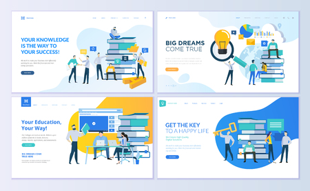 Set of web page design templates for education, know how, university, business solutions. Modern vector illustration concepts for website and mobile website development. Standard-Bild - 104758682