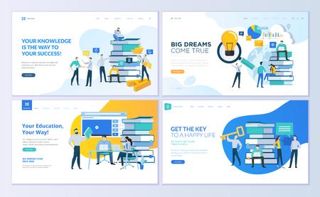 Zestaw szablonów projektów stron internetowych dla edukacji, know-how, uniwersytetu, rozwiązań biznesowych. Nowoczesne koncepcje ilustracji wektorowych do tworzenia witryn internetowych i mobilnych.