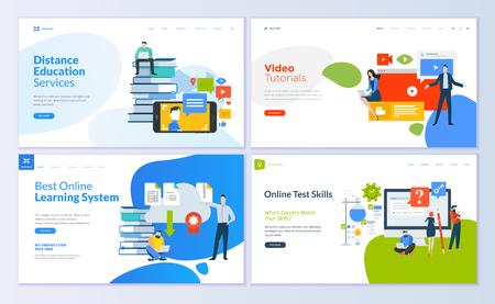 Conjunto de plantillas de diseño de páginas web para educación a distancia, tutoriales en video, aprendizaje electrónico, habilidades de prueba en línea. Conceptos modernos de ilustración vectorial para el desarrollo de sitios web y sitios web móviles. Ilustración de vector