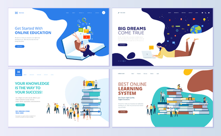 Set of web page design templates for online education, training and courses, learning, video tutorials. Modern vector illustration concepts for website and mobile website development. Stock fotó - 104758686