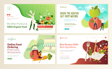 Set of web page design templates for organic food and drink, natural products, restaurant, online food ordering, recipes. Vector illustration concepts for website and mobile website development.