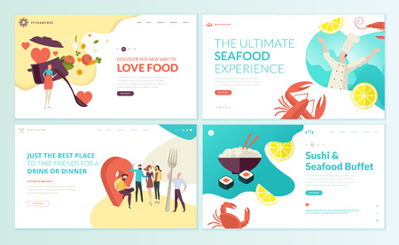 Set of web page design templates for restaurant, seafood, sushi, food and drink. Vector illustration concepts for website and mobile website development. Imagens - 106902882