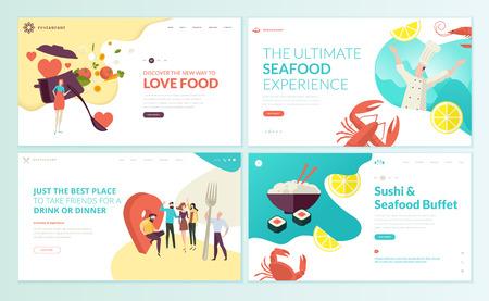 Set ontwerpsjablonen voor webpagina's voor restaurant, zeevruchten, sushi, eten en drinken. Vector illustratie concepten voor website en mobiele website-ontwikkeling. Vector Illustratie