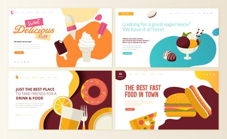 Zestaw szablonów projektów stron internetowych dla fast foodów, lodów, cukierni, słodyczy, słodyczy, restauracji, żywności i napojów. Koncepcje ilustracji wektorowych do tworzenia witryn internetowych i witryn mobilnych.
