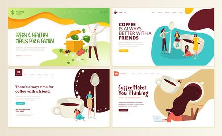 咖啡、咖啡吧、咖啡厅、餐厅、健康食品饮料、外卖的网页设计模板集。导航网站和移动网站发展的例证概念。