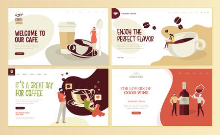 咖啡、咖啡吧、咖啡店、餐厅、葡萄酒、葡萄园、酒楼、电子商务的网页设计模板集。导航网站和移动网站发展的例证概念。