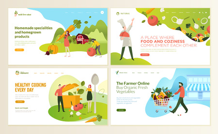 Satz von Webseiten-Entwurfsvorlagen für Essen und Trinken, Naturprodukte, Bio-Lebensmittel, Restaurant, Online-Shop. Vektorillustrationskonzepte für die Entwicklung von Websites und mobilen Websites.