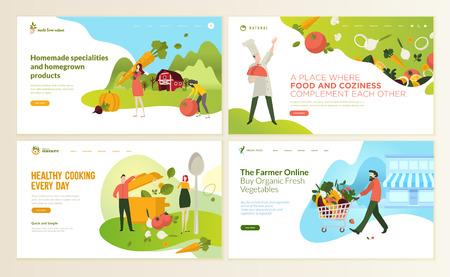 Set ontwerpsjablonen voor webpagina's voor eten en drinken, natuurlijke producten, biologisch voedsel, restaurant, online winkel. Vector illustratie concepten voor website en mobiele website-ontwikkeling.