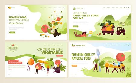 农场生鲜食品、网上订餐、有机蔬菜、电子商务网页设计模板集。导航网站和移动网站发展的例证概念。